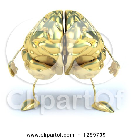 Clipart of a 3d Gold Brain Character - Royalty Free Illustration by Julos