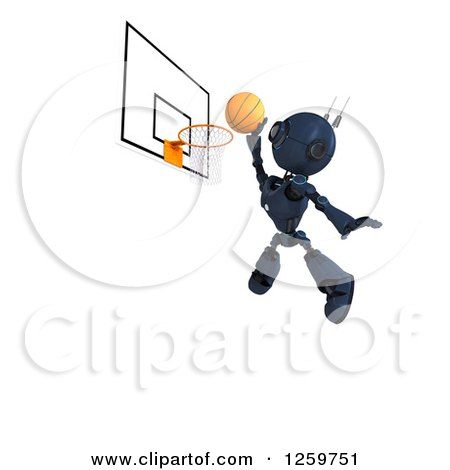 Clipart of a 3d Blue Android Robot Playing Basketball - Royalty Free Illustration by KJ Pargeter