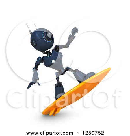 Clipart of a 3d Blue Android Robot Surfing - Royalty Free Illustration by KJ Pargeter