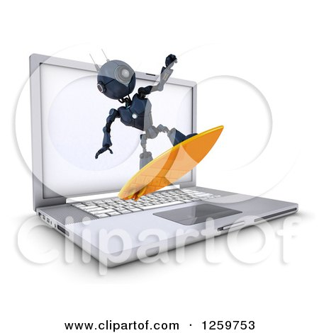 Clipart of a 3d Blue Android Robot Surfing the Internet over a Laptop Computer - Royalty Free Illustration by KJ Pargeter