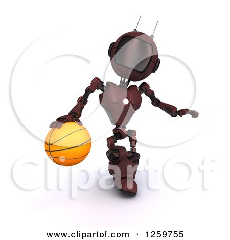 Clipart of a 3d Red Android Robot Dribbling a Basketball - Royalty Free Illustration by KJ Pargeter