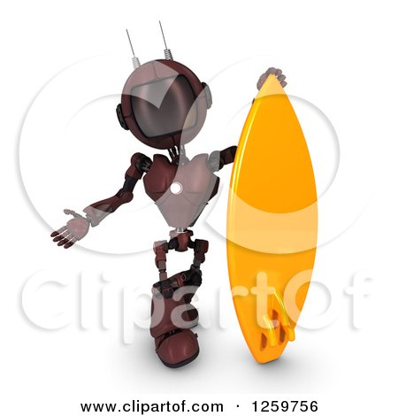 Clipart of a 3d Red Android Robot with a Surfboard - Royalty Free Illustration by KJ Pargeter