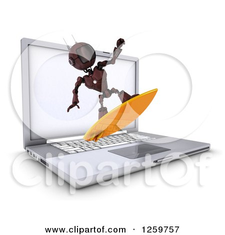 Clipart of a 3d Red Android Robot Surfing the Internet over a Laptop Computer - Royalty Free Illustration by KJ Pargeter