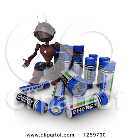 Clipart of a 3d Red Android Robot with Giant Rechargeable Batteries - Royalty Free Illustration by KJ Pargeter
