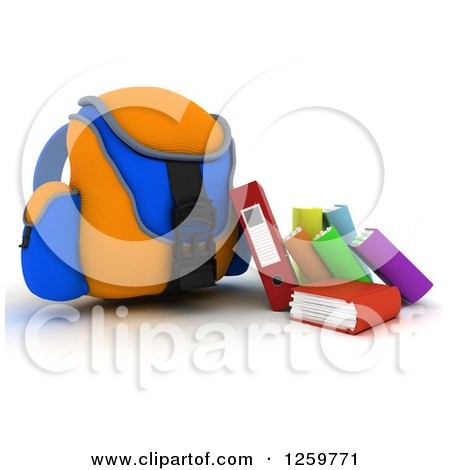 Clipart of a 3d Blue and Orange Backpack with Books and Binders - Royalty Free Illustration by KJ Pargeter