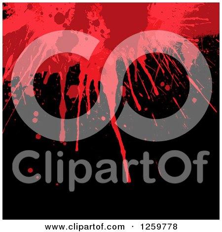 Clipart of a Red Blood Splatter on Black - Royalty Free Vector Illustration by KJ Pargeter