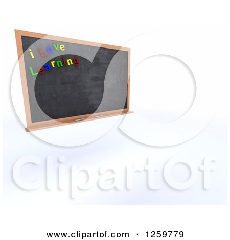 Clipart of a 3d School Blackboard with I Love Learning Magnets - Royalty Free Illustration by KJ Pargeter