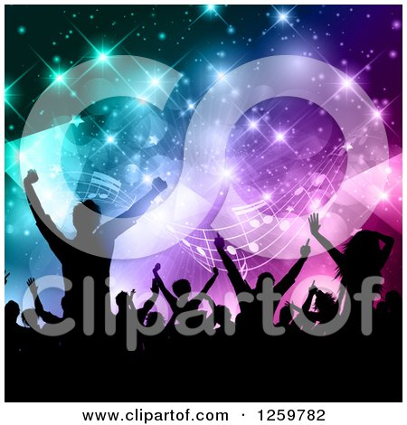 Clipart of a Silhouetted Dancing and Cheering Crowd over Colorful Flares Triangles and Music Notes - Royalty Free Vector Illustration by KJ Pargeter
