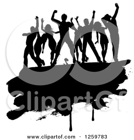 Clipart of a Team of Black Silhouetted Dancers on a Grunge Bar - Royalty Free Vector Illustration by KJ Pargeter