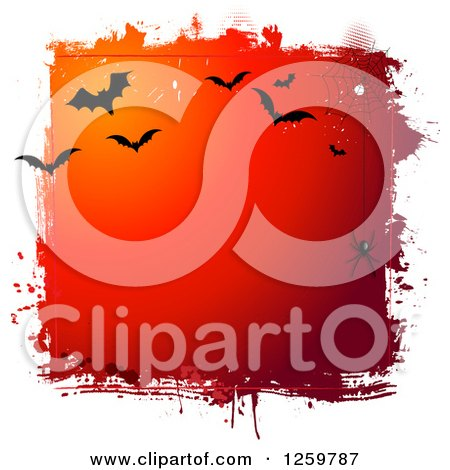 Clipart of a Grungy Red Halloween Background with a Spider Web and Vampire Bats Bordered in White - Royalty Free Vector Illustration by KJ Pargeter