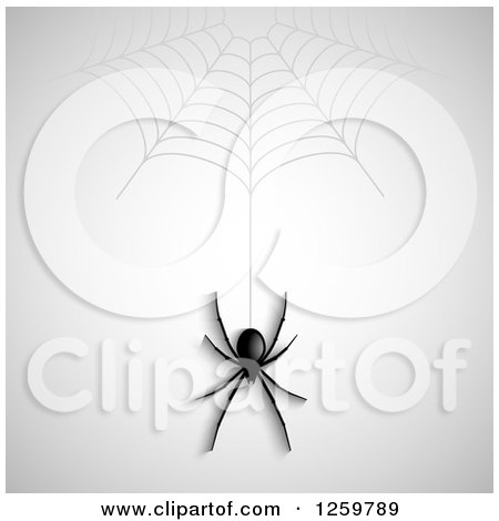 Clipart of a Halloween Background of a Black Spider Hanging from a Web over Gray - Royalty Free Vector Illustration by KJ Pargeter