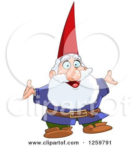 Clipart of a Happy Senior Male Gnome - Royalty Free Vector Illustration by yayayoyo