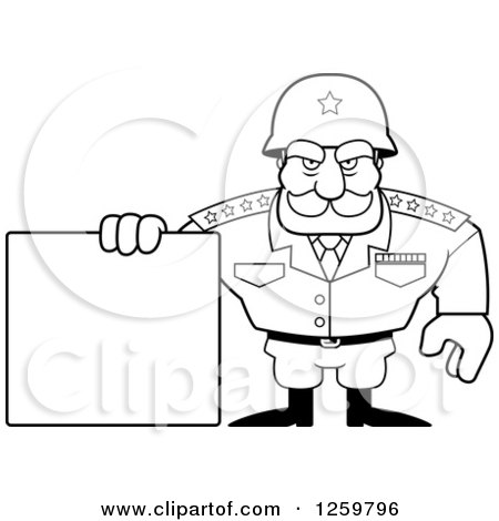 Clipart of a Black and White Army General Man Holding a Blank Sign Lineart Drawing - Royalty Free Vector Illustration by Cory Thoman