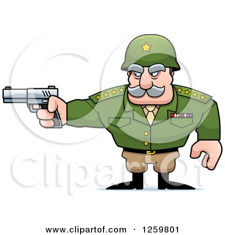 Clipart of a Caucasian Army General Man Holding a Gun - Royalty Free Vector Illustration by Cory Thoman