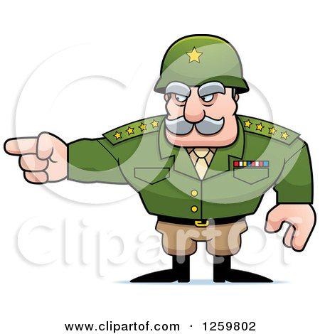 Clipart of a Caucasian Army General Man Pointing - Royalty Free Vector Illustration by Cory Thoman