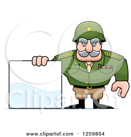 Clipart of a Caucasian Army General Man Holding a Blank Sign - Royalty Free Vector Illustration by Cory Thoman