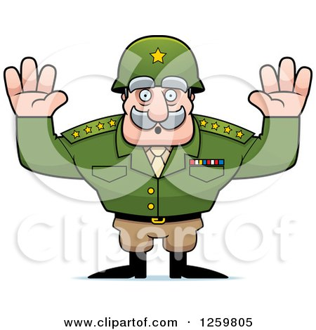 Clipart of a Caucasian Army General Man Surrendering - Royalty Free Vector Illustration by Cory Thoman
