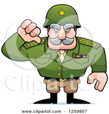 Clipart of a Caucasian Army General Man Holding a Thumb down - Royalty Free Vector Illustration by Cory Thoman