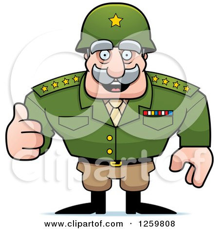 Clipart of a Caucasian Army General Man Holding a Thumb up - Royalty Free Vector Illustration by Cory Thoman
