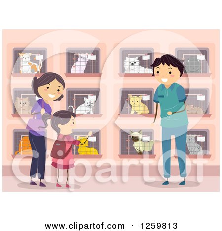 Clipart of a Girl and Mother Looking for a Cat at a Shelter - Royalty Free Vector Illustration by BNP Design Studio