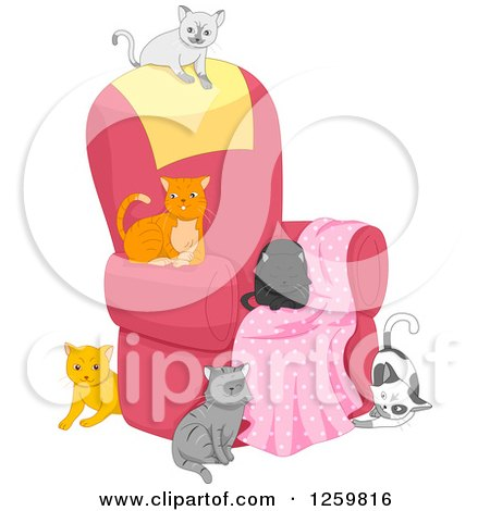 Clipart of a Group of Cats on and Around a Chair - Royalty Free Vector Illustration by BNP Design Studio