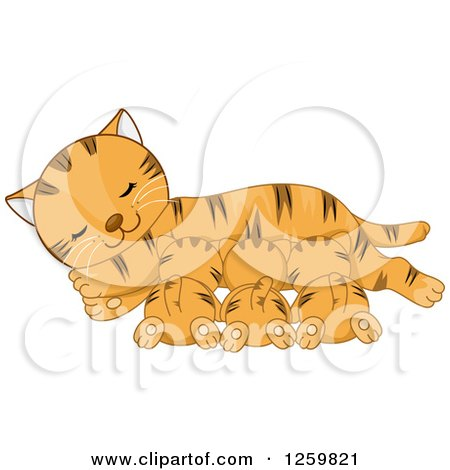 Clipart of a Happy Ginger Tabby Mother Cat Nursing Her Kittens - Royalty Free Vector Illustration by BNP Design Studio