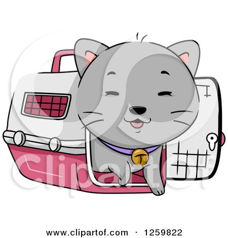 Clipart of a Happy Gray Cat Emerging from a Carrier - Royalty Free Vector Illustration by BNP Design Studio
