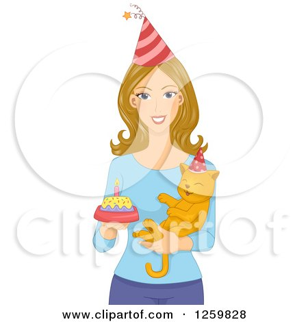 Clipart of a Happy Caucasian Holding a Cake and Her Birthday Cat - Royalty Free Vector Illustration by BNP Design Studio