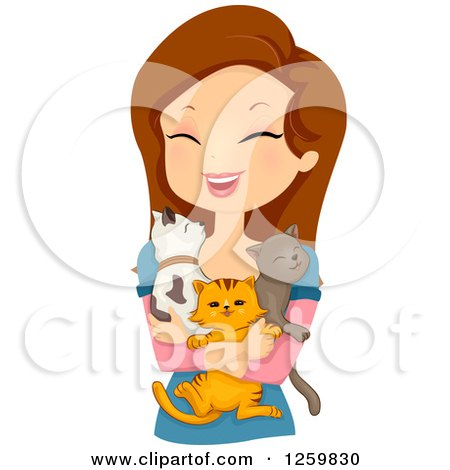 Clipart of a Happy Brunette White Woman Holding Three Cats - Royalty Free Vector Illustration by BNP Design Studio