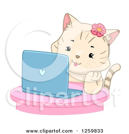 Clipart of a Happy Beige Cat Girl Using a Laptop Computer - Royalty Free Vector Illustration by BNP Design Studio