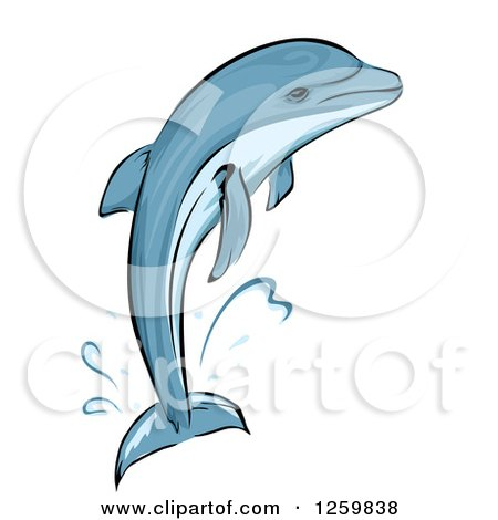 Clipart of a Jumping Dolphin Mascot - Royalty Free Vector Illustration by BNP Design Studio
