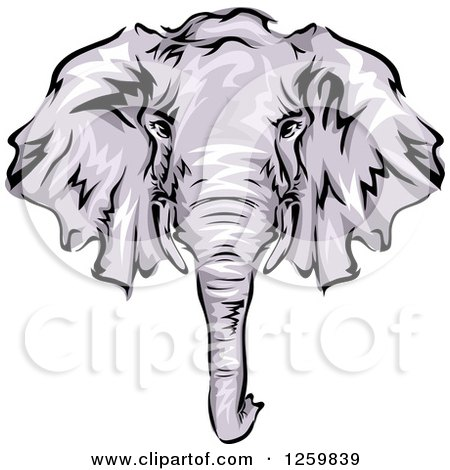 Clipart of a Gray Elephant Face Mascot - Royalty Free Vector Illustration by BNP Design Studio