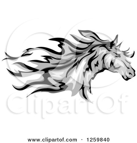 Clipart of a Running Gray Horse Mascot - Royalty Free Vector Illustration by BNP Design Studio