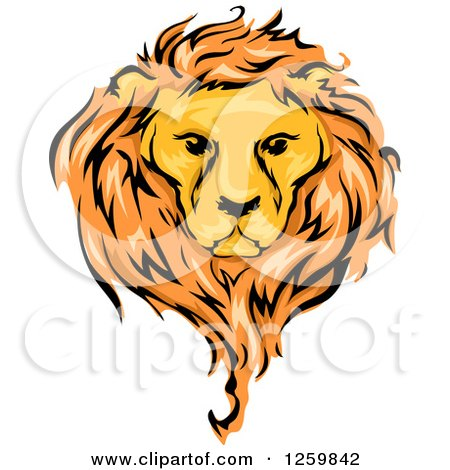Clipart of a Male Lion and Mane Mascot - Royalty Free Vector Illustration by BNP Design Studio