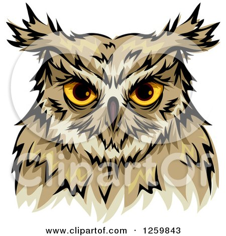 Clipart Of A Yellow Eyed Owl Mascot Royalty Free Vector Illustration