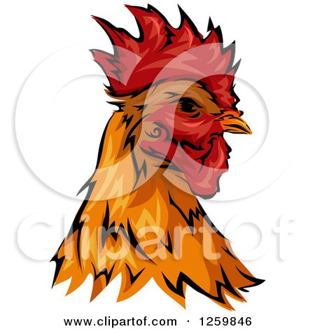 Clipart of a Rooster Head Mascot - Royalty Free Vector Illustration by BNP Design Studio