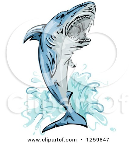Clipart of a Jumping Attacking Shark Mascot - Royalty Free Vector Illustration by BNP Design Studio