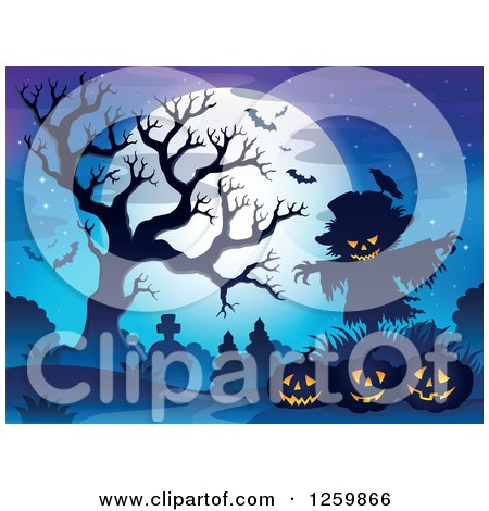 Clipart of a Full Moon and Scarecrow with Jackolanterns a Bare Tree and Bats in a Cemetery - Royalty Free Vector Illustration by visekart