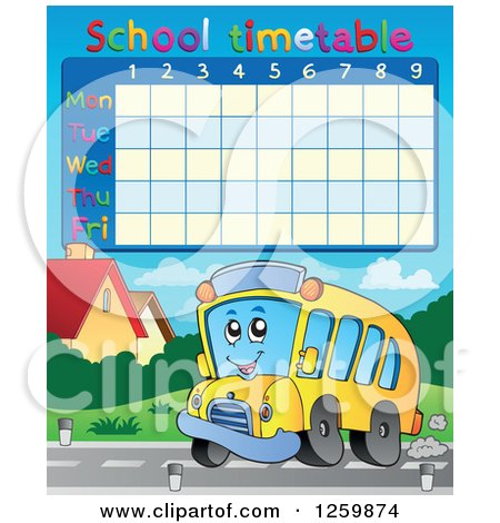 Clipart of a School Timetable with a School Bus - Royalty Free Vector Illustration by visekart