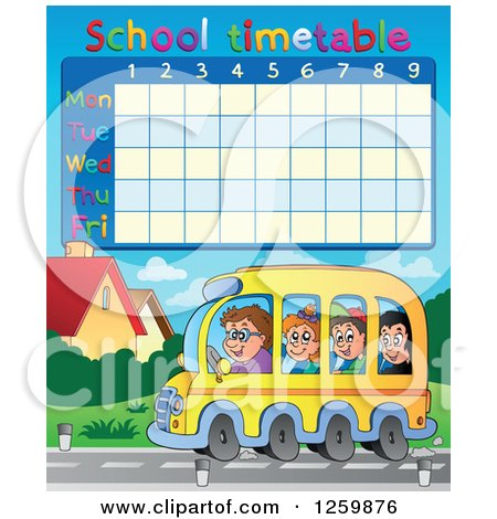 Clipart of a School Timetable with Children Riding a Bus - Royalty Free Vector Illustration by visekart