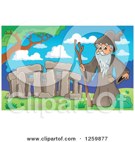 Clipart of a Senior Druid Man at Stonehenge - Royalty Free Vector Illustration by visekart