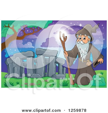 Clipart of a Druid Wizard at Stonehenge - Royalty Free Vector Illustration by visekart