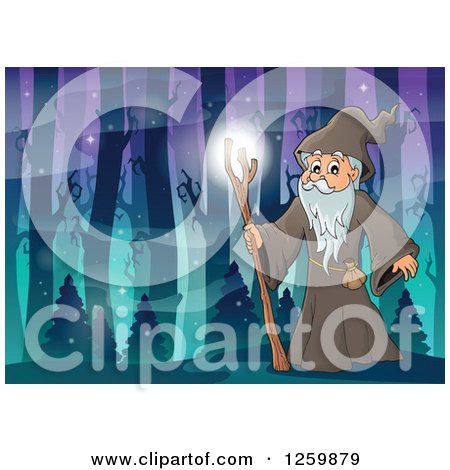 Clipart of a Druid Wizard in a Magical Forest - Royalty Free Vector Illustration by visekart