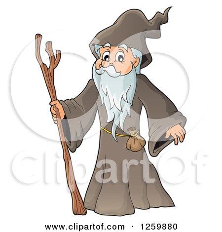 Clipart of a Senior Druid Man - Royalty Free Vector Illustration by visekart