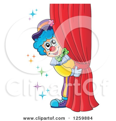 Clipart of a Circus Clown Peeking Around Red Drapes - Royalty Free Vector Illustration by visekart