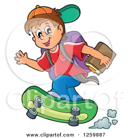 Clipart of a Brunette Caucasian School Boy Riding a Skateboard - Royalty Free Vector Illustration by visekart