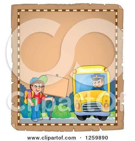 Clipart of a Parchment Page of a Boy Waiting for a School Bus - Royalty Free Vector Illustration by visekart