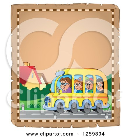 Clipart of a Parchment Page of Children Riding a School Bus - Royalty Free Vector Illustration by visekart