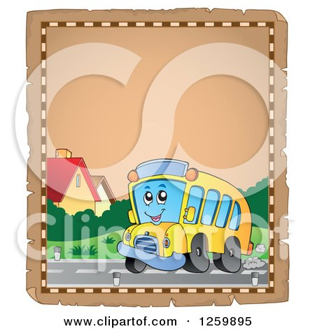Clipart of a Parchment Page of a School Bus - Royalty Free Vector Illustration by visekart