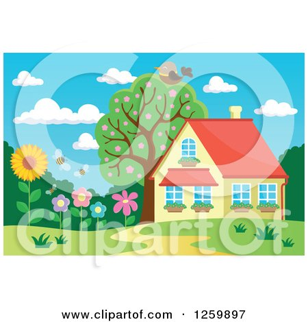 Clipart of a Bird Resting on a Tree over a House with a Flower Garden - Royalty Free Vector Illustration by visekart
